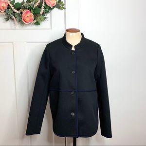 J. Crew Ribbed Black Blue Trim Blazer Jacket